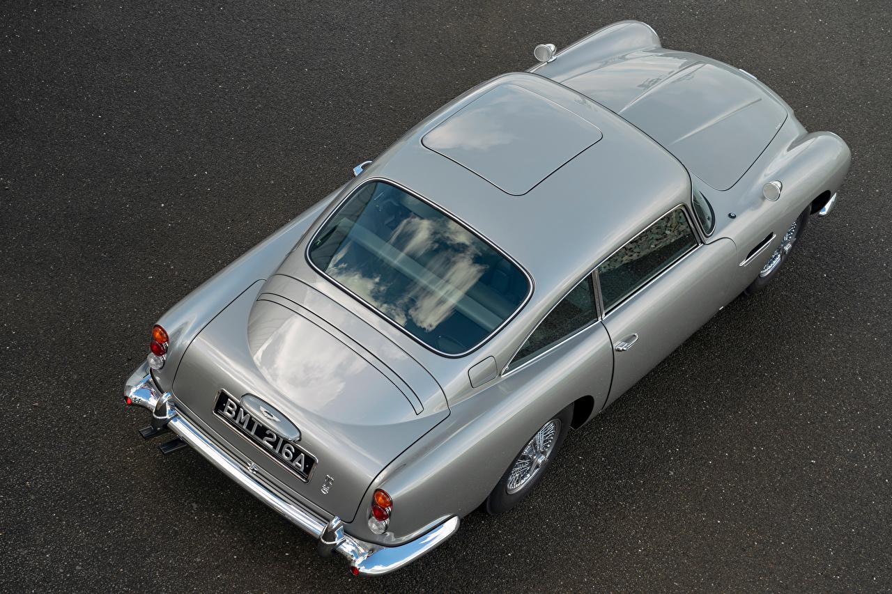 Fotos Aston Martin DB5 Goldfinger Continuation, 2020 Grau Von oben automobil Metallisch graue graues auto Autos