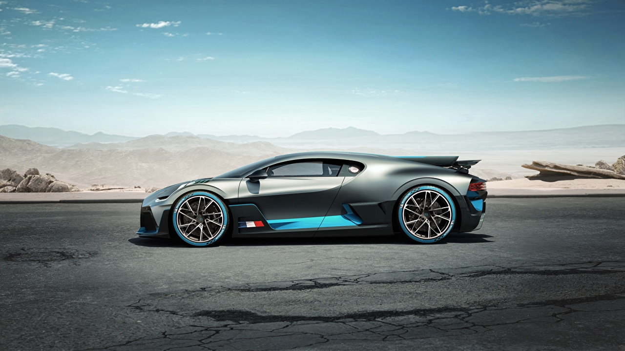 Pictures BUGATTI Divo 2019 Grey Cars Side gray auto automobile