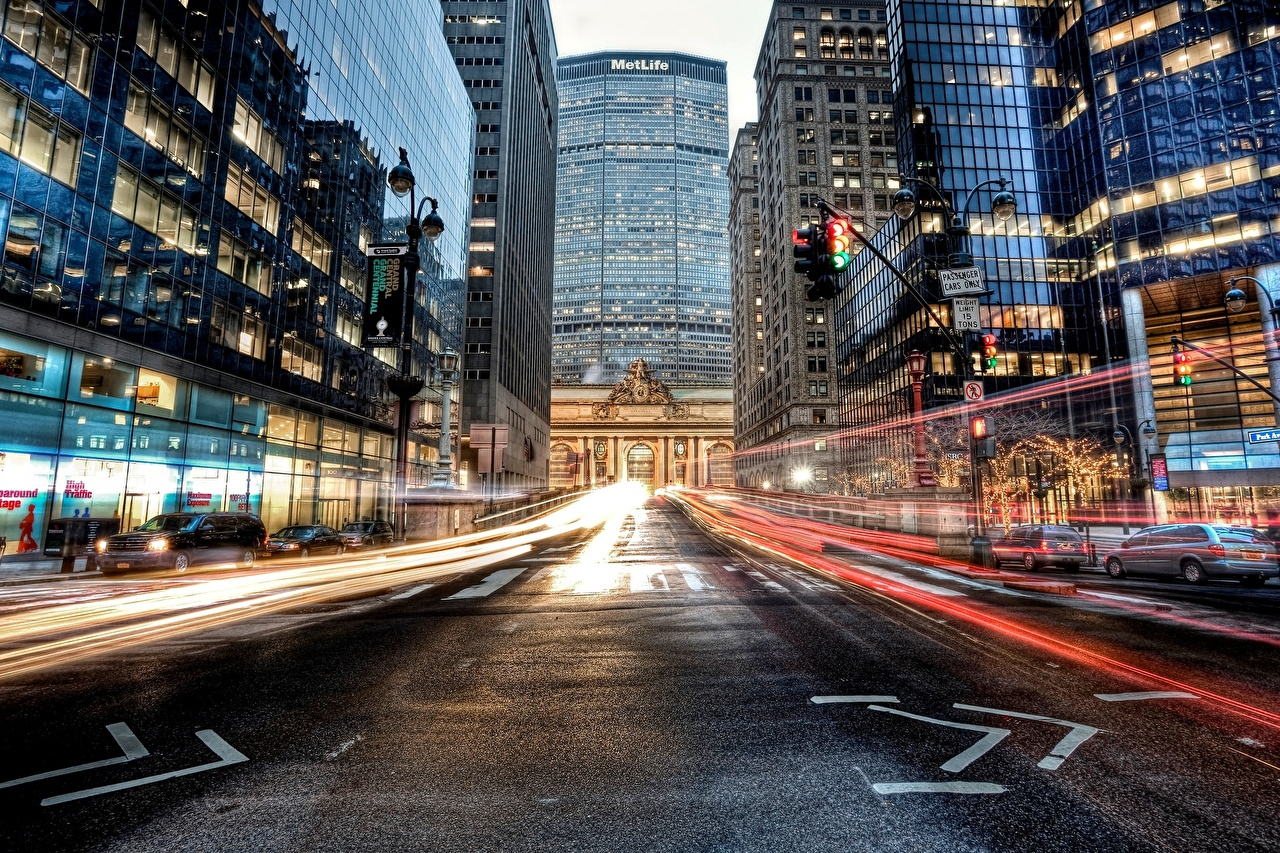 Photos New York City USA Grand Central Terminal Midtown Manhattan Roads Street Asphalt Houses Cities Building