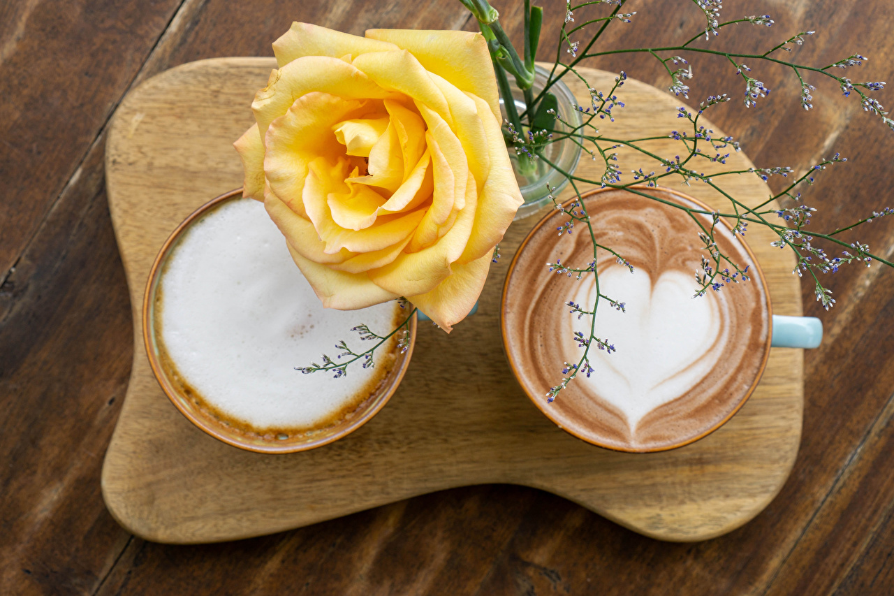 Images Heart 2 Roses Yellow Cappuccino flower Cup Food Cutting board Wood planks Two rose Flowers boards