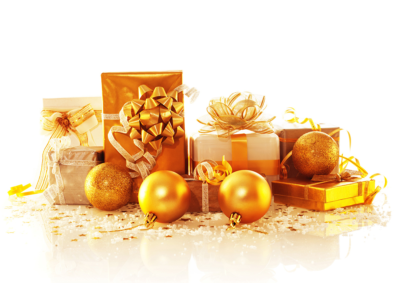 Pictures Christmas Gold color present Balls White background New year Gifts