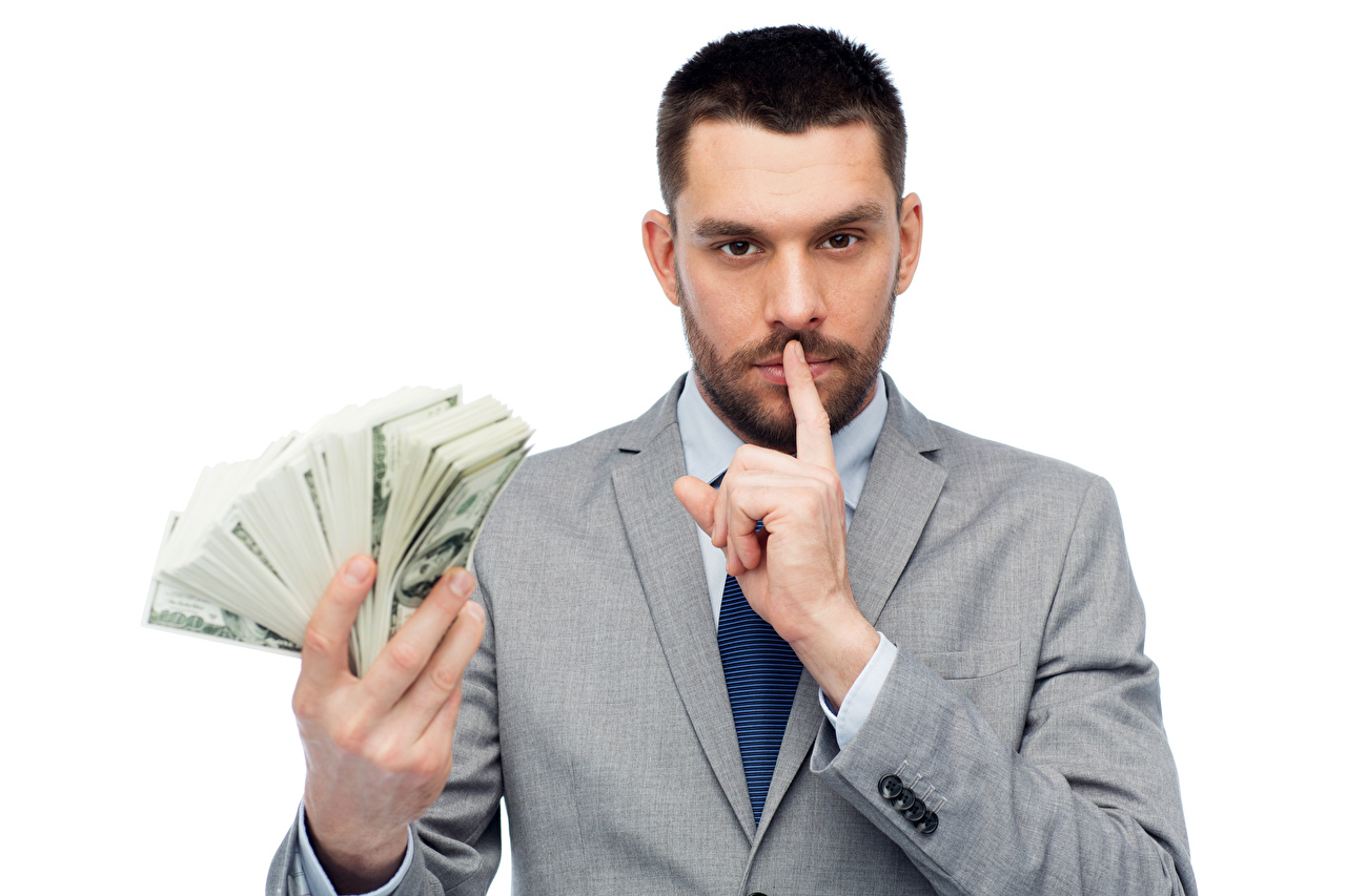 Image Dollars Men Money Fingers Staring White background Man Glance