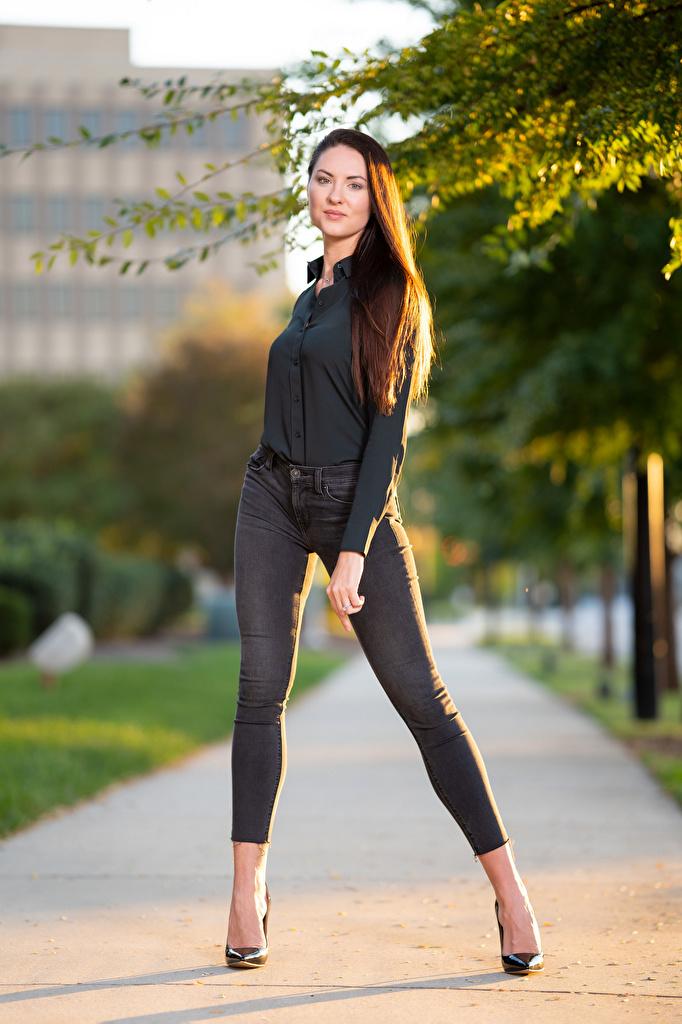 Photos Girls Natalia Larioshina Modelling Legs Glance Jeans posing Formal shirt  for Mobile phone female young woman Model Staring Pose