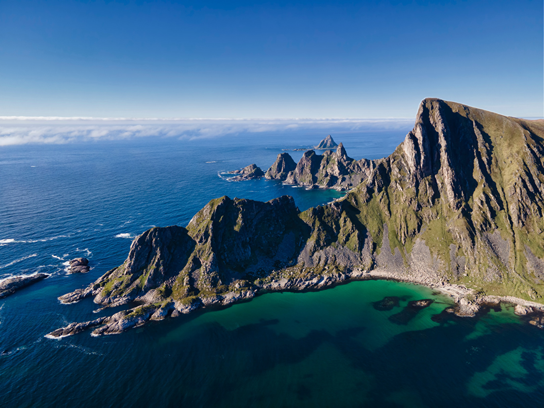 Images Lofoten Norway Sea Crag Nature Mountains Coast Rock Cliff mountain