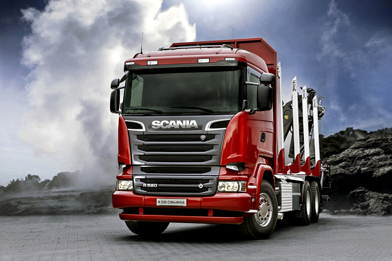 Pictures Trucks Scania R520, 2013, 6x4 Red Cars Front lorry auto automobile