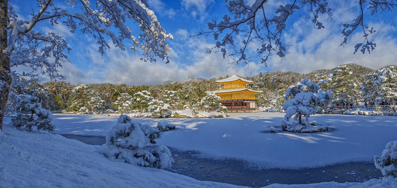Wallpaper Nature Kyoto Japan Kinkaku-JI, Rokuon-JI temple Snow Winter Panorama Temples panoramic