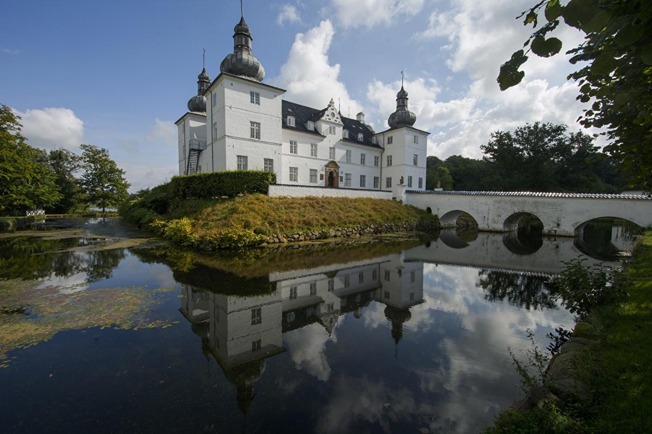 Tapety Dania Nestved, Castle, Engelsholm Lake Zamek Jezioro Miasta miasto