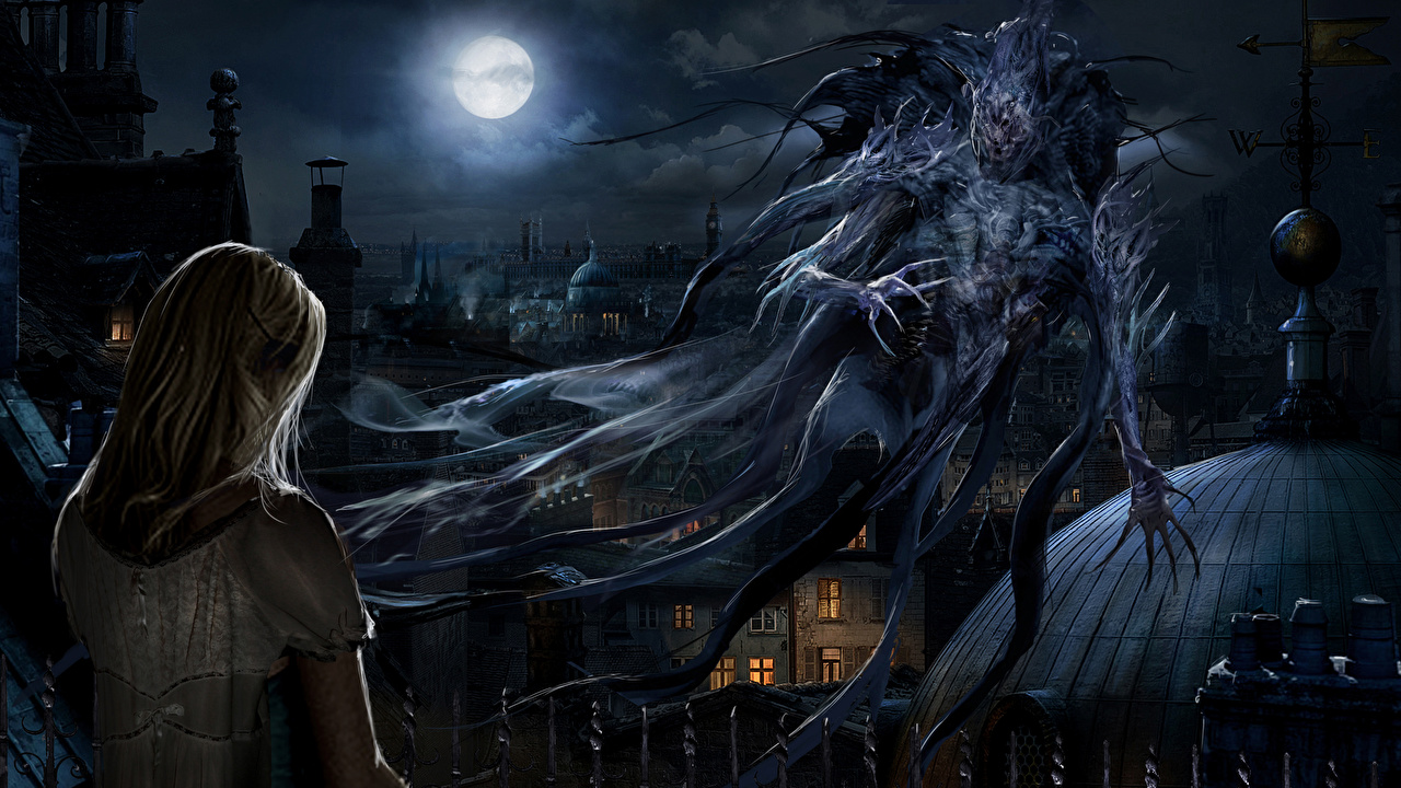 Pictures Monsters Blonde girl Fantasy Moon night time monster Night