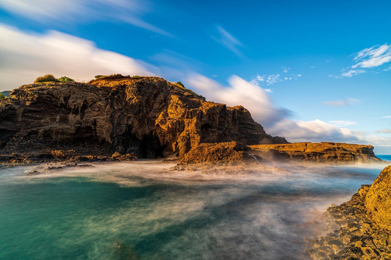 Image New Zealand Piha Beach Cliff Nature Coast Crag Rock