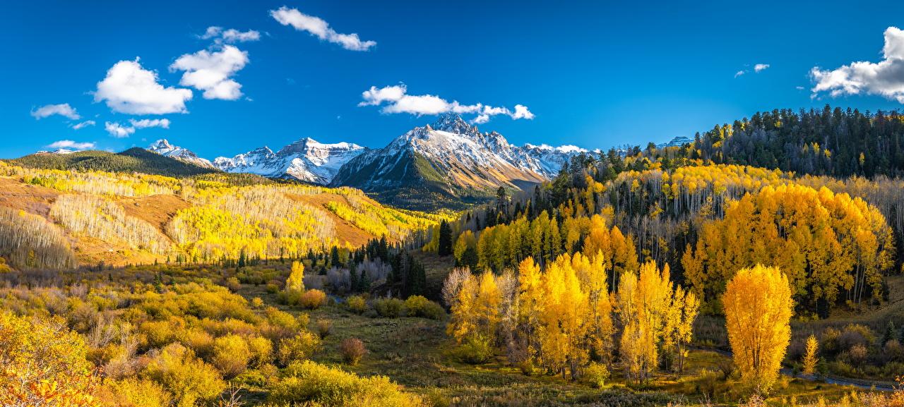 Bilder USA Panoramafotografie Mount Sneffels Berg Natur Herbst Landschaftsfotografie Vereinigte Staaten Panorama Gebirge
