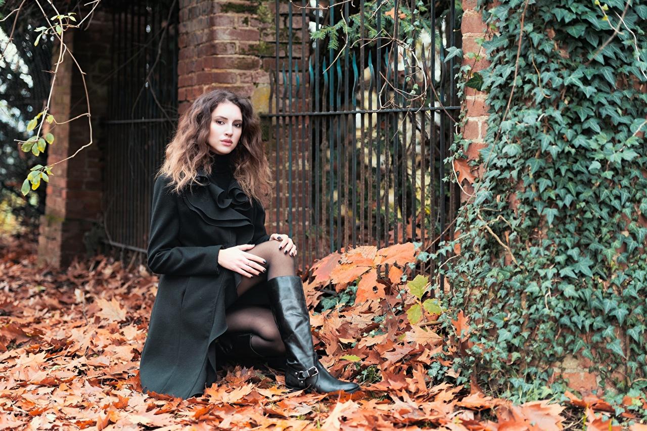 Fotos Blattwerk Braunhaarige Stiefel Mantel Herbst Mädchens Bein Blatt Braune Haare junge frau junge Frauen