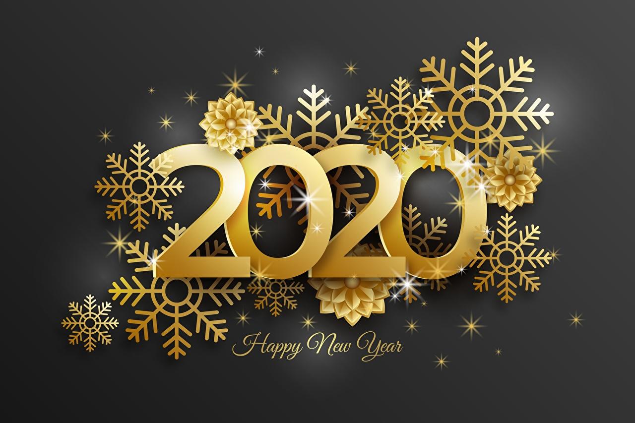 Fotos von 2020 Neujahr englischer Gold Farbe Schneeflocken Wort Englisch englische englisches text