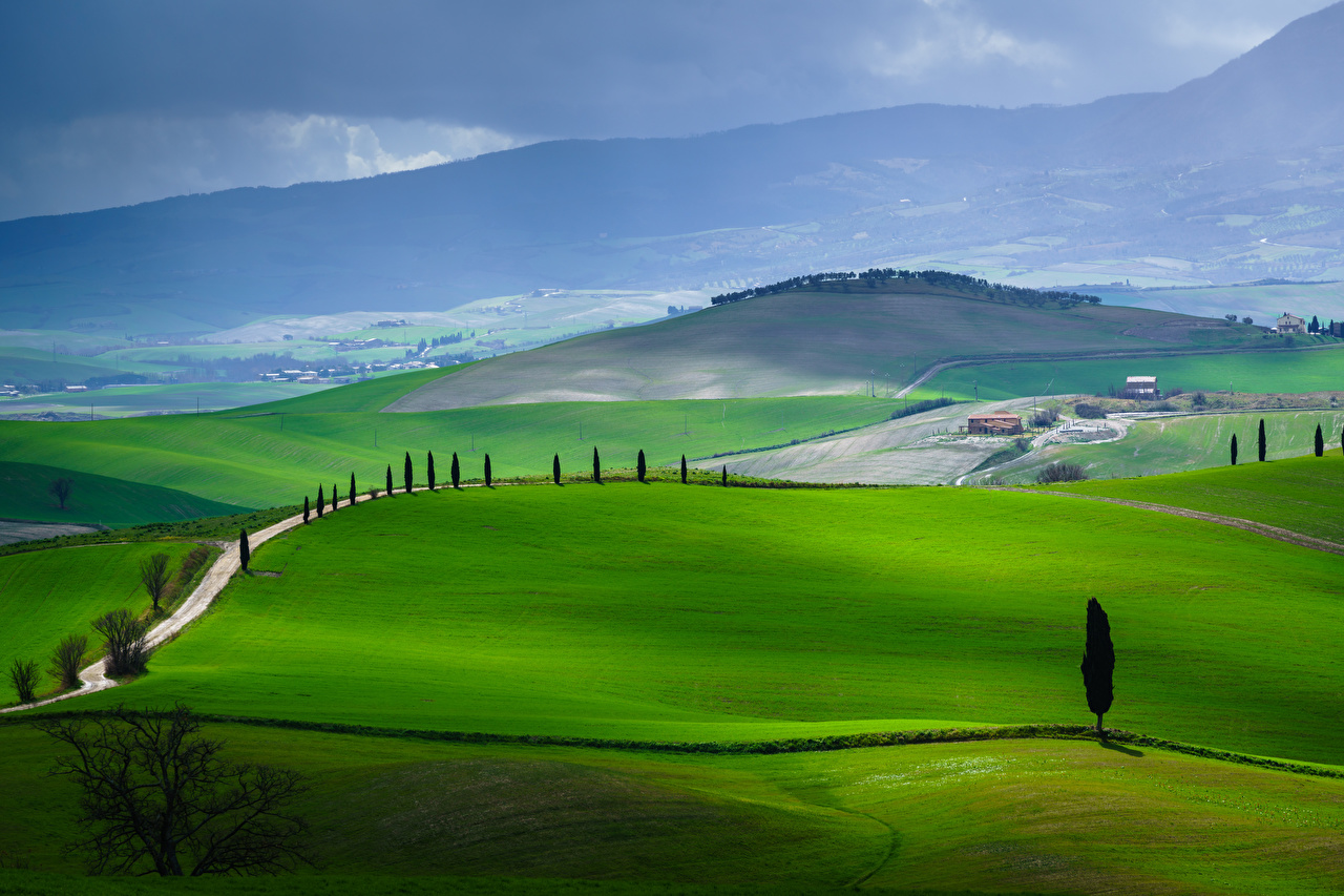 Photo Tuscany Italy Val d'Orcia Nature Mountains Hill Roads Meadow mountain Grasslands