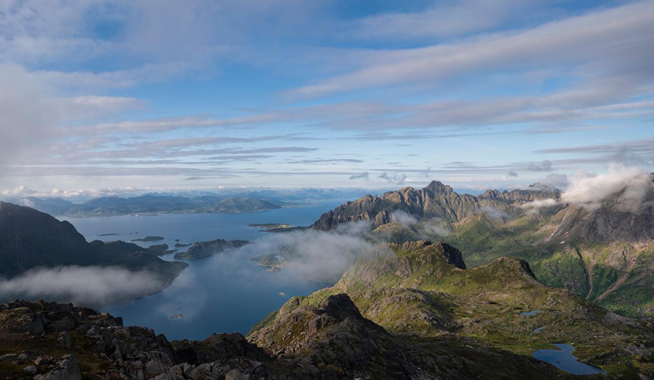 Fotos von Lofoten Norwegen Fjord Berg Natur Wolke Gebirge
