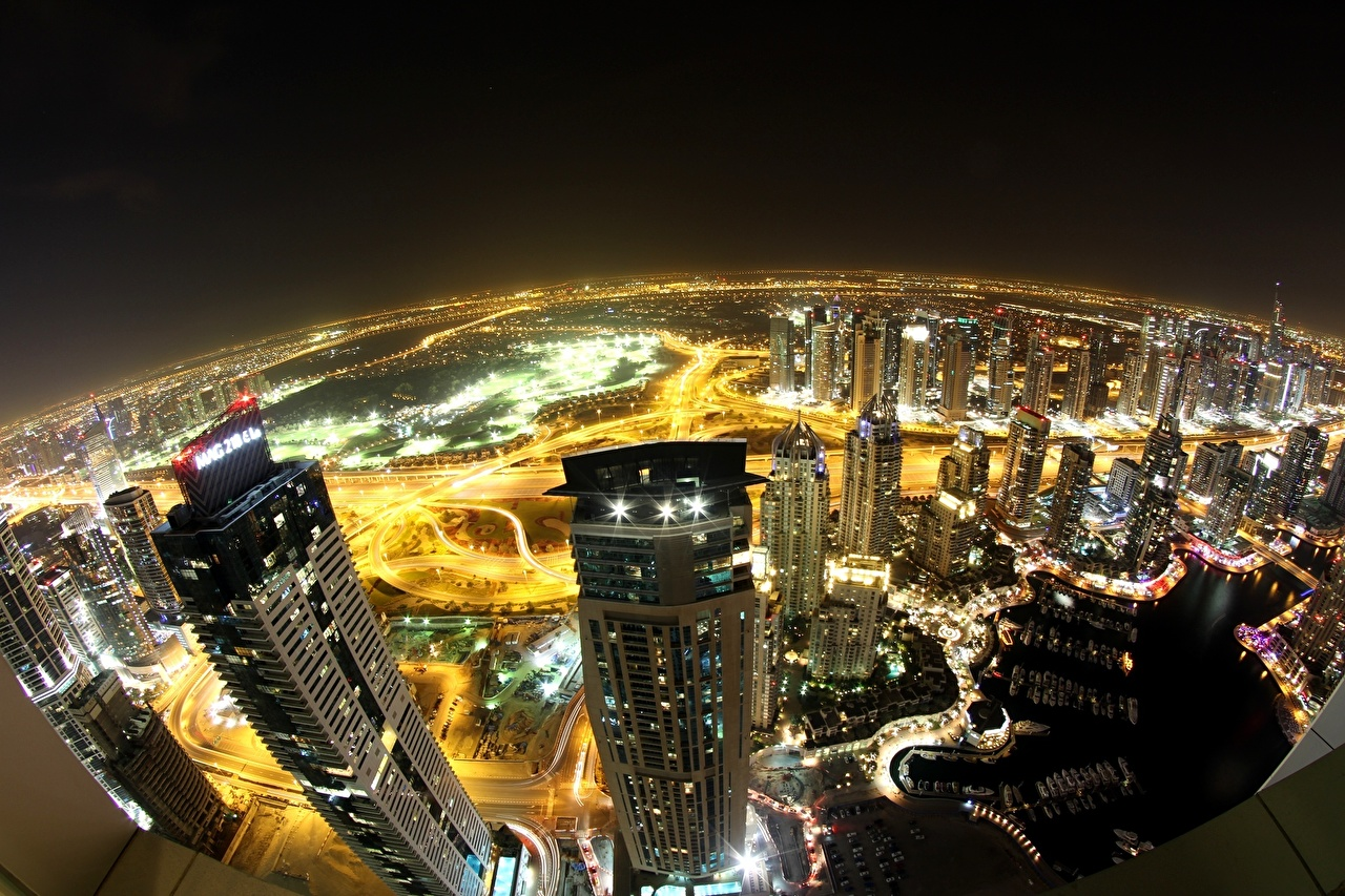 Wallpaper Dubai Emirates UAE From above night time Skyscrapers Cities Building Night Houses