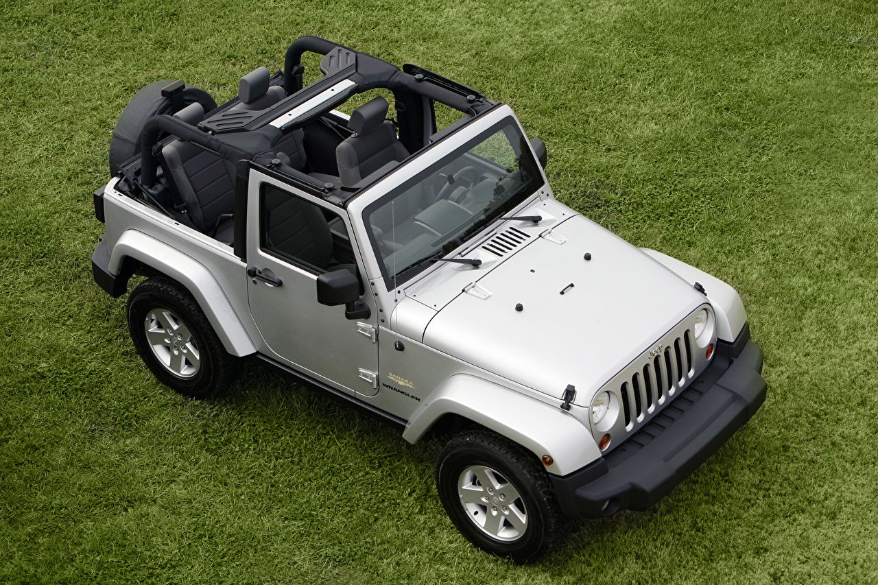 Desktop Wallpapers Jeep SUV Silver color Cars Grass From above Sport utility vehicle auto automobile