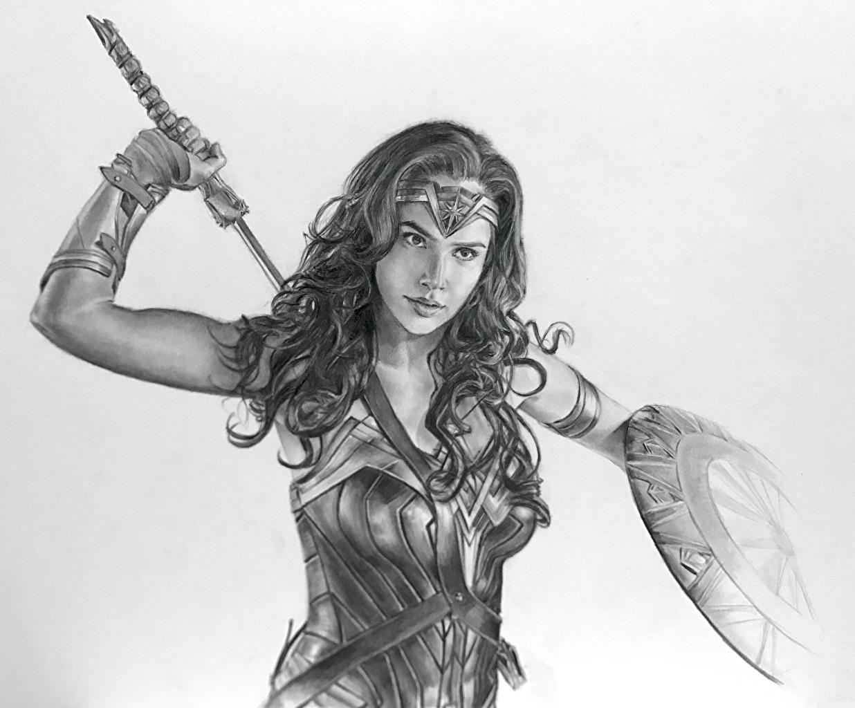 Image Wonder Woman (2017 film) Gal Gadot Shield Wonder Woman hero warrior female film Black and white Celebrities Painting Art Warriors Girls young woman Movies
