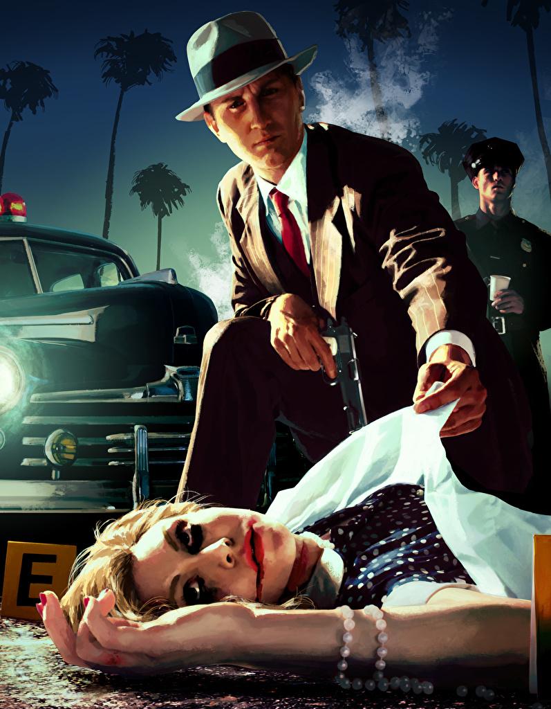 Tapeta na pulpit L.A. Noire Policjanci mężczyzna Krew Martwy Kapelusz Dziewczyny Gry wideo  dla Telefon komórkowy policja policyjny Mężczyźni martwa zwłoki dziewczyna młoda kobieta młode kobiety gra wideo komputerowa