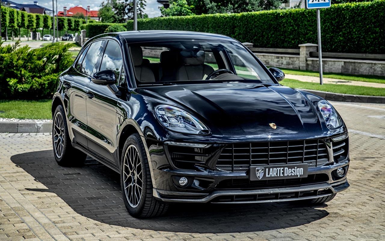 Photos Tuning Porsche Macan, Larte Design Black Front Metallic automobile Cars auto