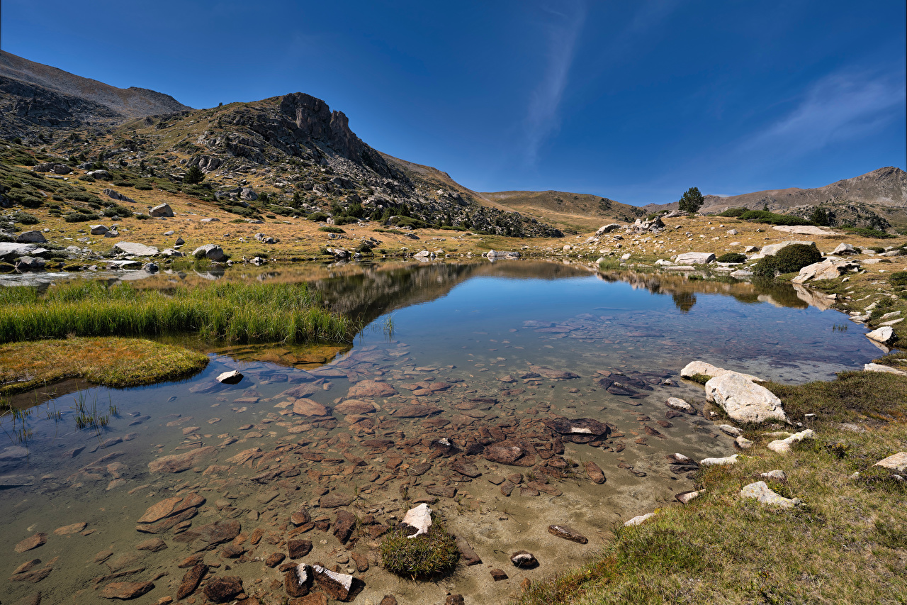 Image Spain Pyrenees, Catalonia Nature Mountains Lake Stones mountain stone