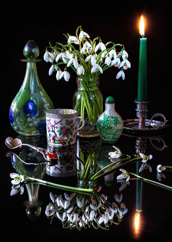 Wallpaper Flowers Galanthus Reflection Cup Vase Spoon Candles Still-life  for Mobile phone flower Snowdrops reflected
