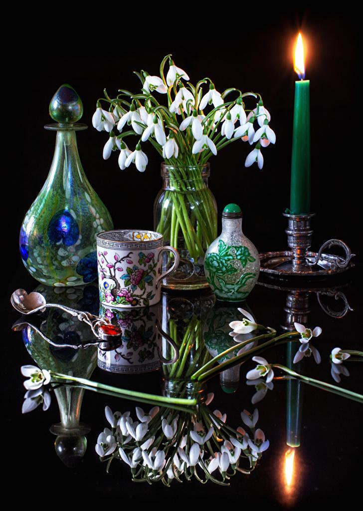 Fotos Blumen Reflexion Schneeglöckchen Vase Tasse Kerzen Löffel Stillleben  für Handy Blüte spiegelt Spiegelung Spiegelbild