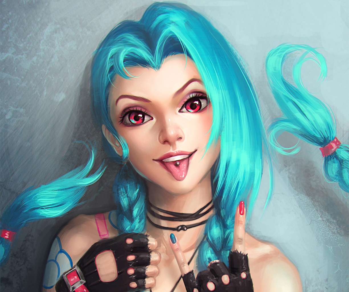 Bilder LOL Lächeln jinx Haar Fantasy junge frau Spiele Hand Starren League of Legends Mädchens junge Frauen computerspiel Blick