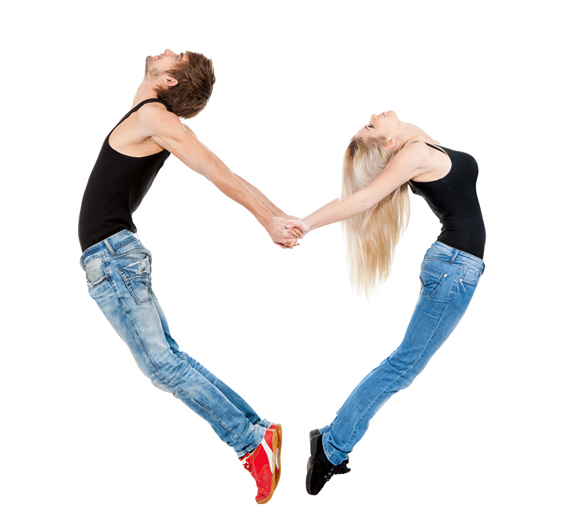 Photos Blonde girl Man Heart 2 Girls Jeans Singlet Hands White background Men Two female young woman Sleeveless shirt