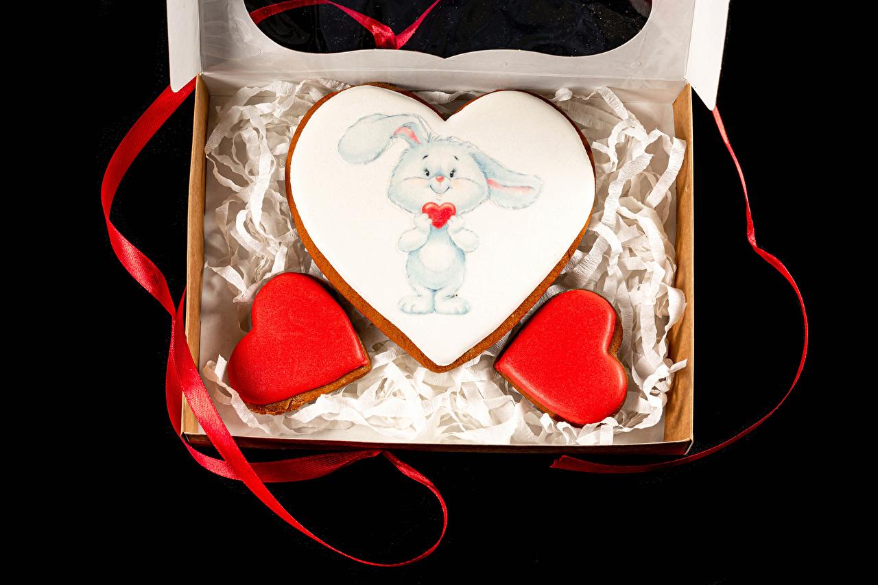 Día de San Valentín Galleta Conejo Fondo negro Diseño Cinta comida, conejos Alimentos