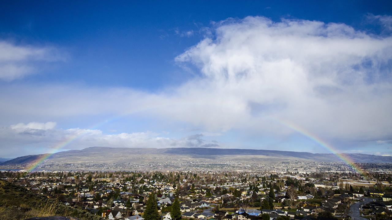 、空、小さな町、雲、虹、自然、