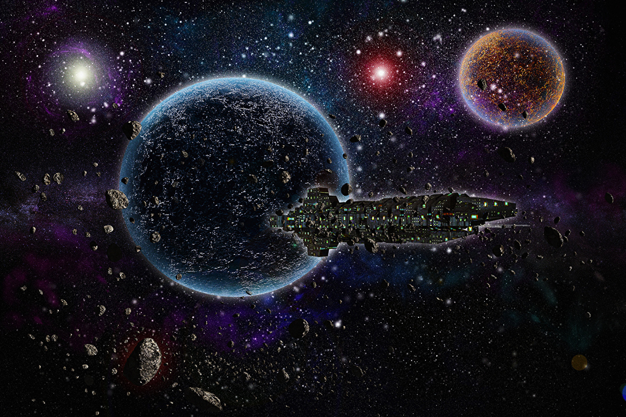 Pictures Stars planet Starship Asteroids Space Fantasy Ships Technics Fantasy Planets asteroid ship