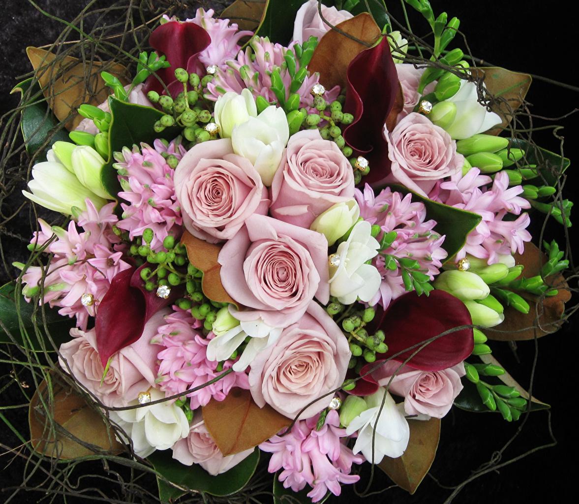 Fotos von Sträuße Rosen Drachenwurz Blüte Freesie Hyazinthen Blumensträuße Rose Calla palustris Blumen Freesien