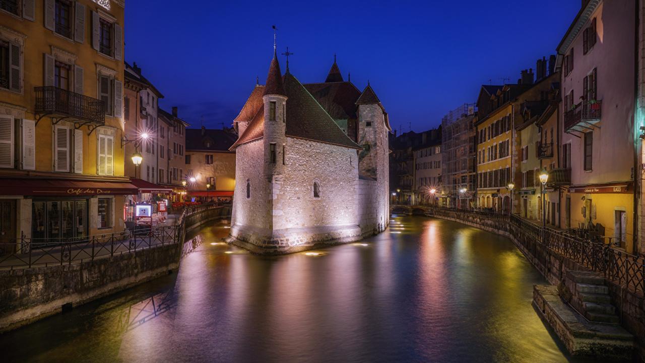、フランス、住宅、Annecy、夜、運河、建物、都市、