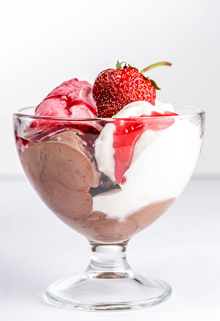 Wallpaper Ice cream Bowl Strawberry Food  for Mobile phone