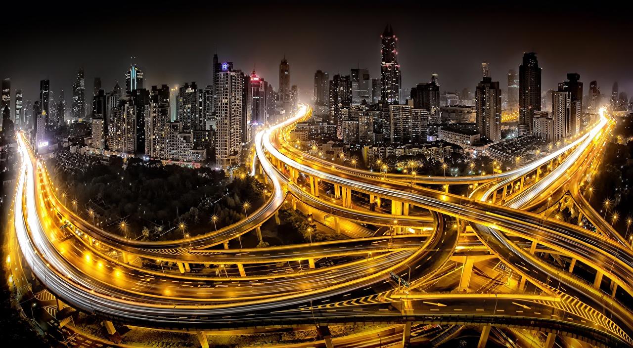Foto Shanghai China Megalopolis Wege Nacht Straßenlaterne Haus Städte Straße Gebäude