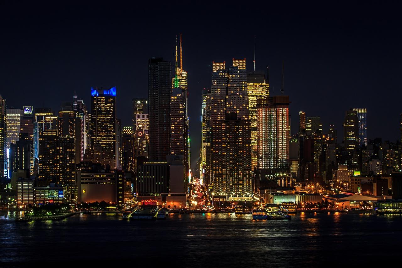 Photo Manhattan New York City USA megalopolis Night Skyscrapers Cities Megapolis night time