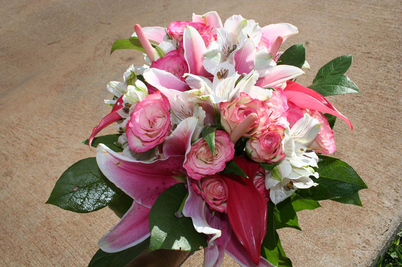Wallpaper Bouquets rose Lilies flower Alstroemeria bouquet Roses lilium Flowers