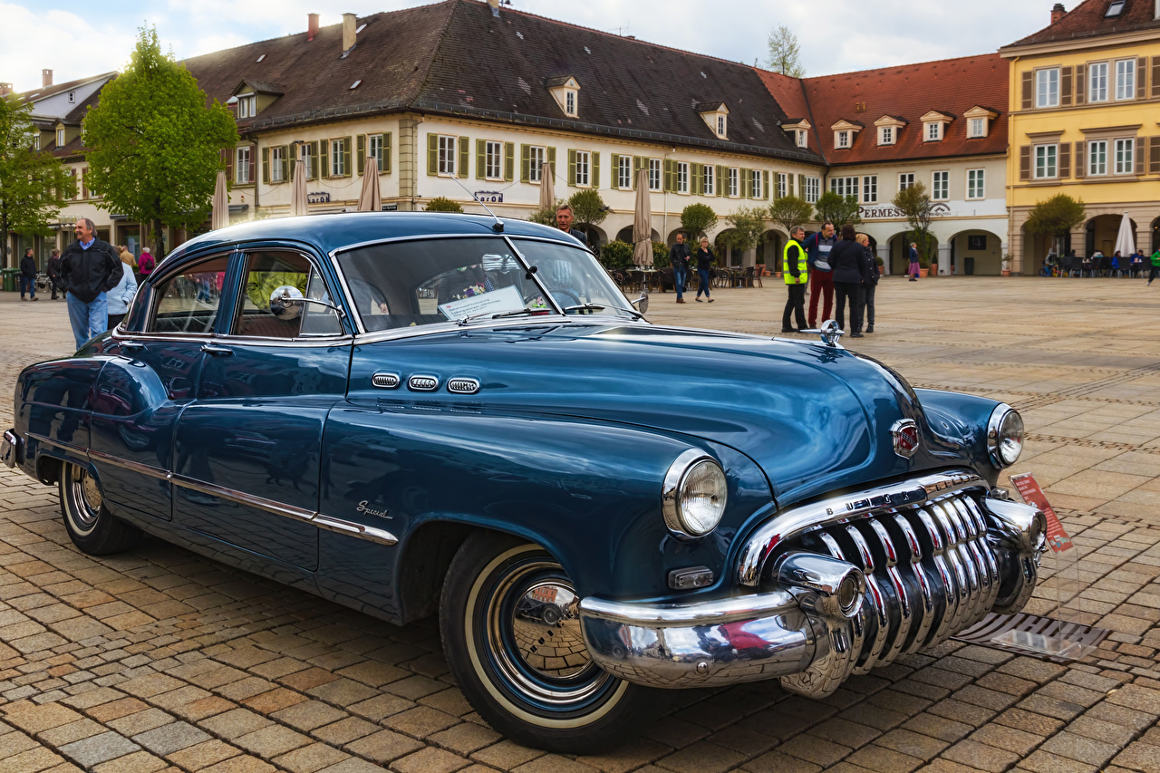 Image Buick 1949 Special Tourback Blue antique Cars Metallic Retro vintage auto automobile