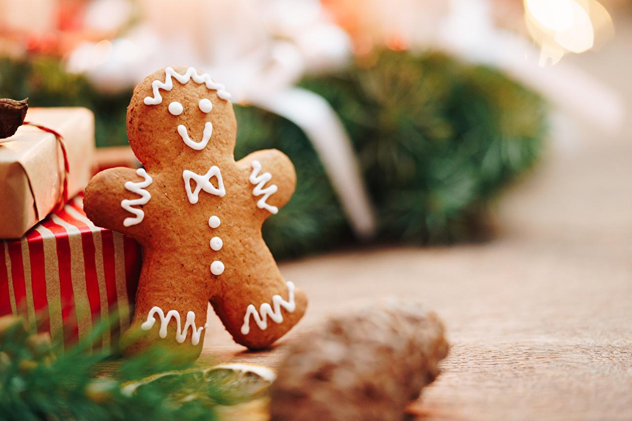 Bilder Neujahr Bokeh Kekse das Essen Nahaufnahme unscharfer Hintergrund Lebensmittel hautnah Großansicht