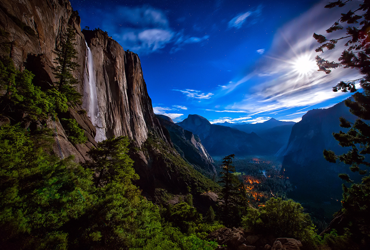 Picture Yosemite USA Crag Nature Waterfalls park landscape photography Rock Cliff Parks Scenery
