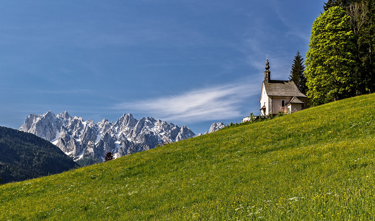Image Church Alps Austria Nature mountain Meadow Mountains Grasslands