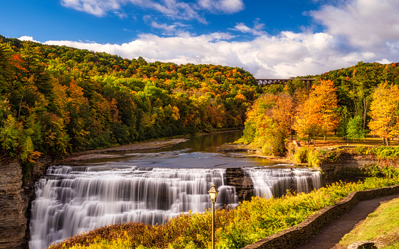 Desktop Wallpapers USA Letchworth State Park Autumn Nature Waterfalls Parks Forests Scenery Street lights park forest landscape photography