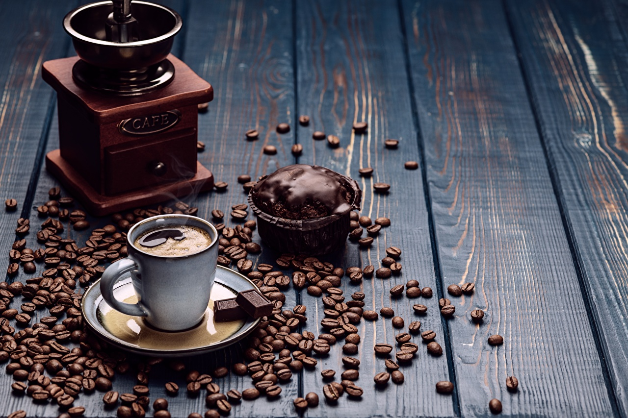 Wallpaper Food Chocolate Coffee Cup Grain boards Coffee mill Little cakes Saucer Wood planks