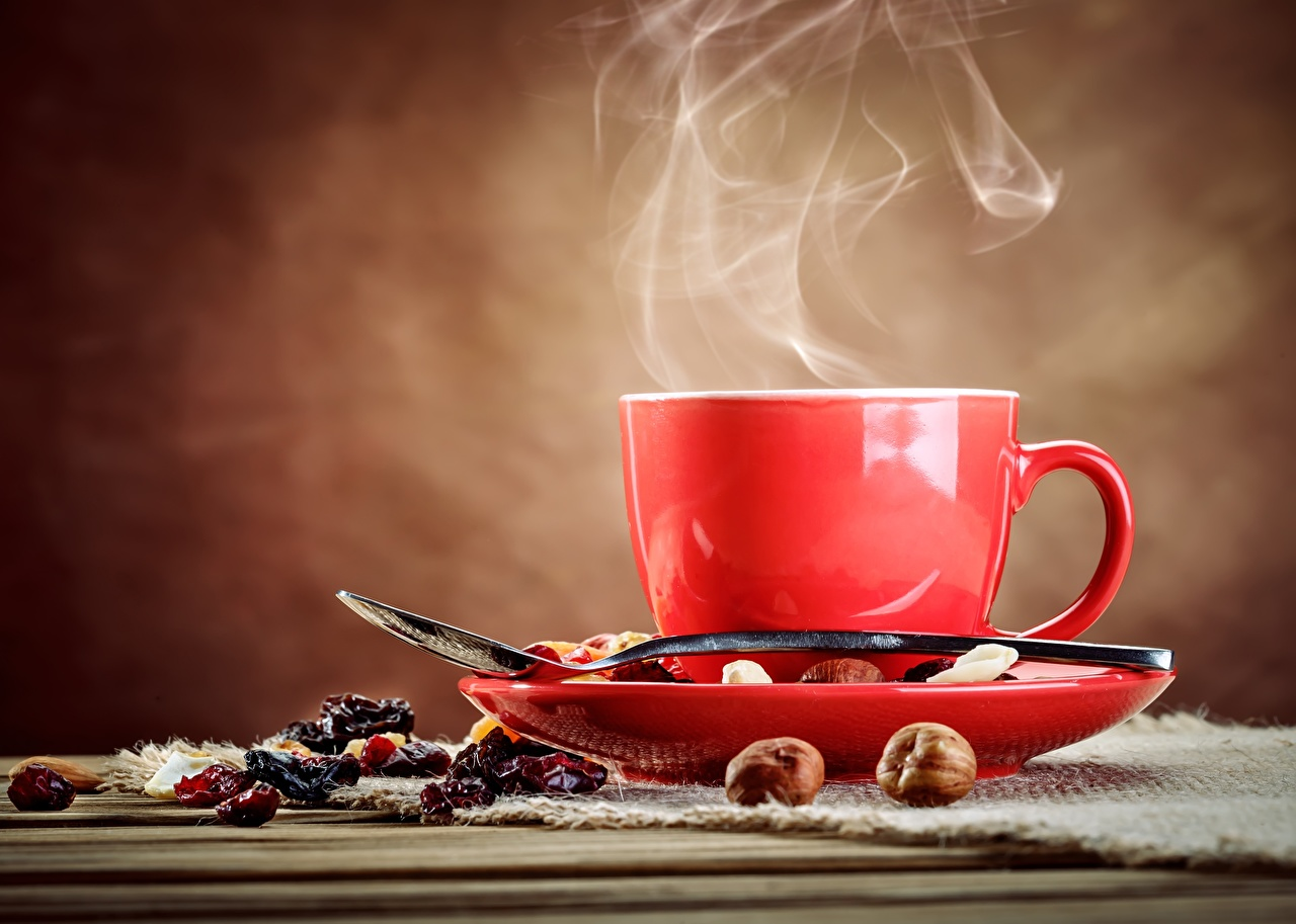 Photos Coffee Cup Food Spoon Vapor Saucer