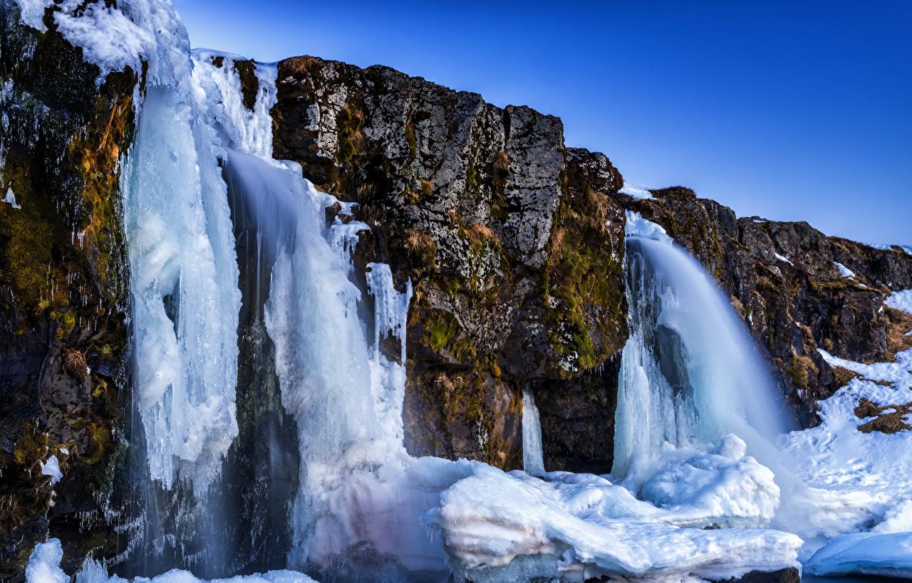 Images Iceland Akureyri Ice Crag Nature Waterfalls Rock Cliff