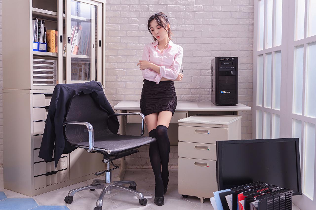 ,亚洲人,女秘书,辦公室,安乐椅,腿,裙,西裝外套,罩衫,年輕女性,女孩,