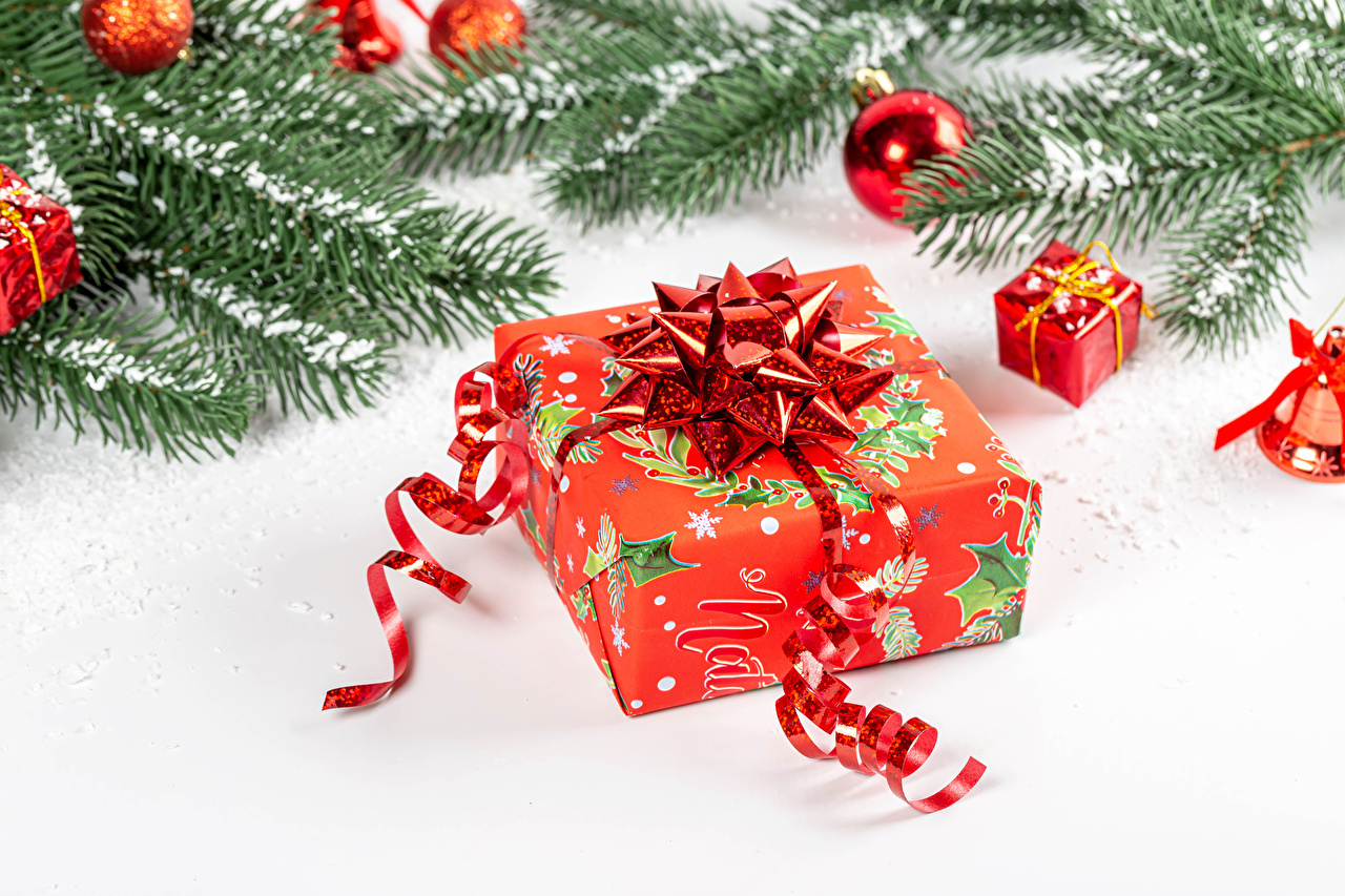 Photo Christmas Snow Gifts Balls Ribbon Branches White background New year present