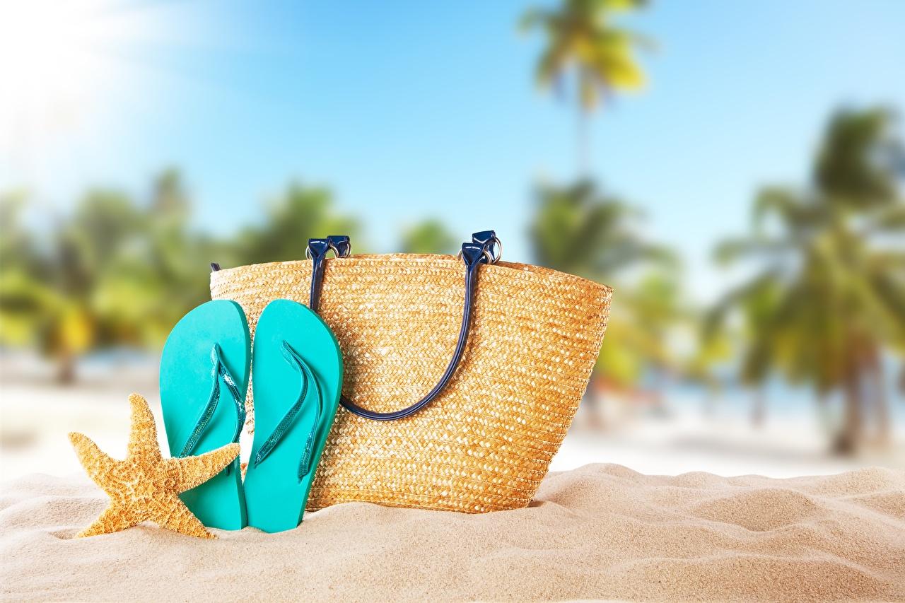 Desktop Wallpapers sea stars Flip-flops Sand purse Starfish Handbag