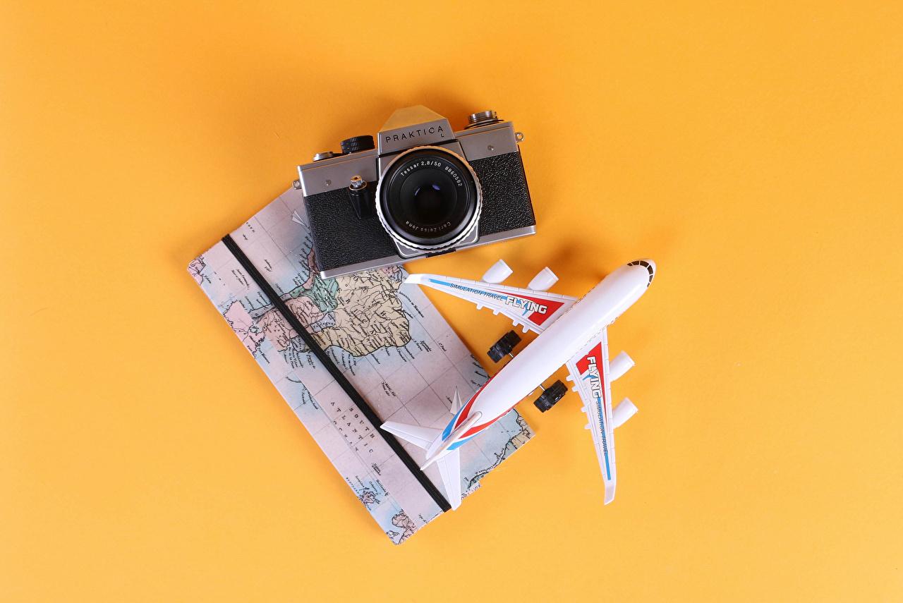 Mapa Avións Fondo de color Cámara fotográfica Turismo
