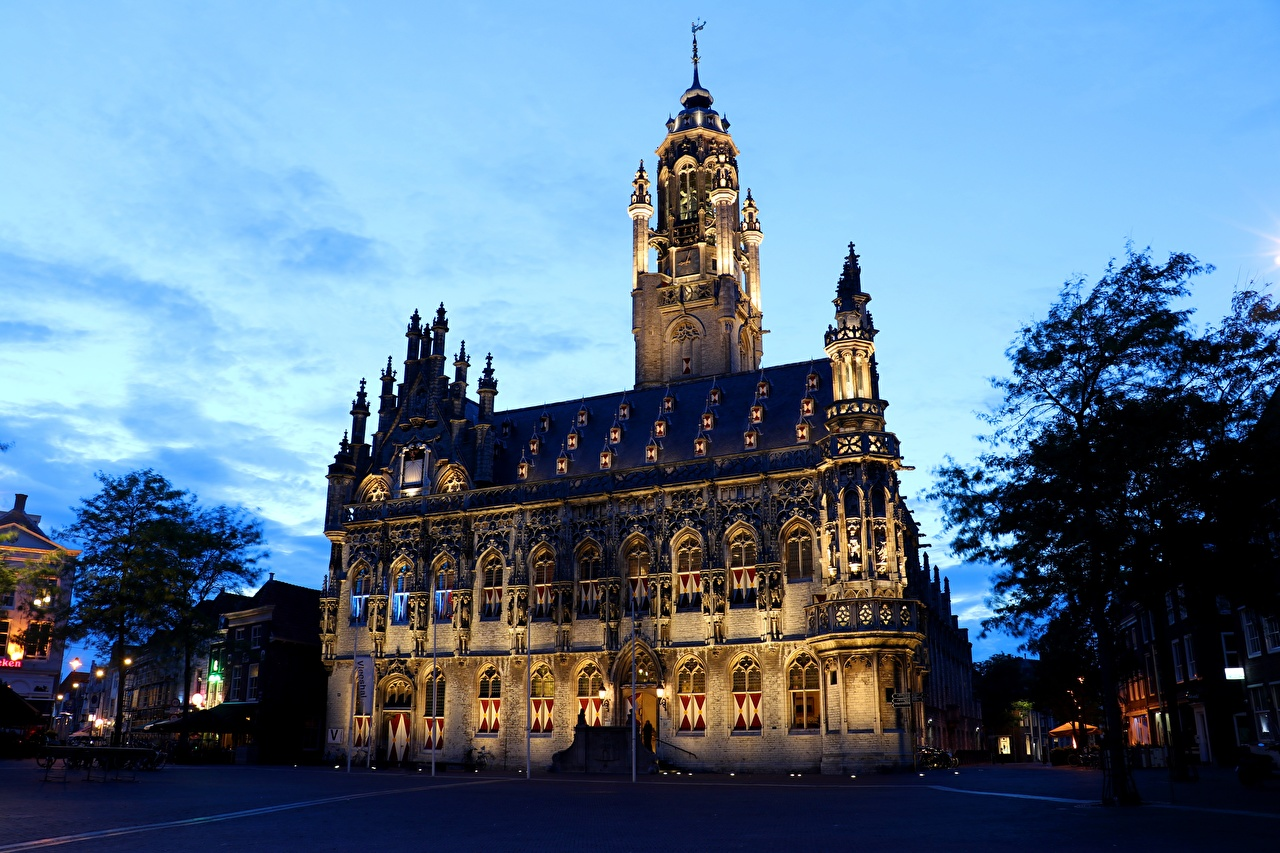 Wallpaper Netherlands Middelburg, Town Hall Houses Cities